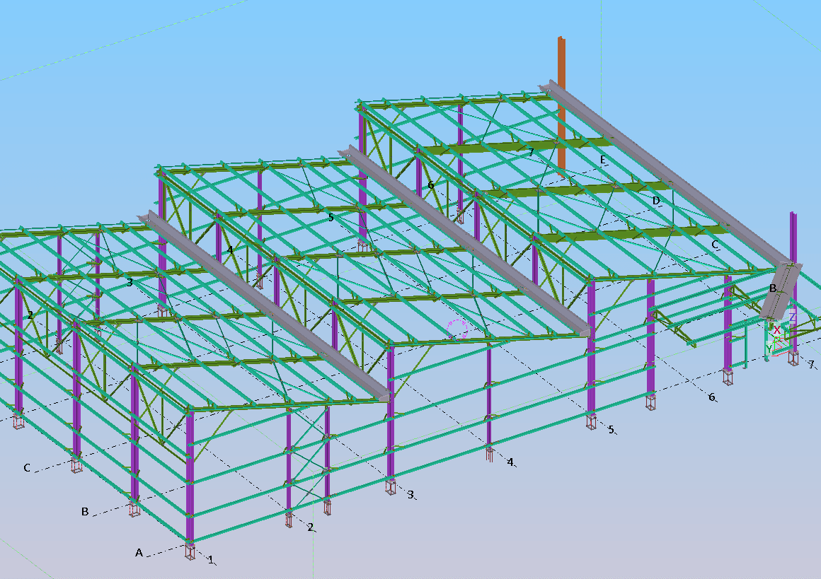 John Crane Warehouse Tekla Structures Steel Detailing Model by Columbus Detailing